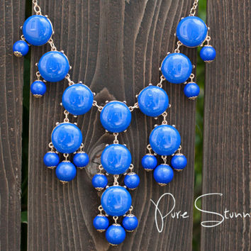 J Crew Bubble Necklace Inspired - Royal Blue Bubble Statement Bib Necklace.