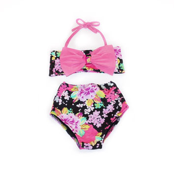 Floral Print Pink Bow Top & High Waist Bikini! Kids Swimwear!