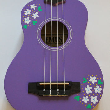 Lilac Ukulele with Hand-Painted White Flowers