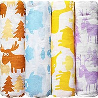 "Muslin Baby Swaddle Blankets ""Colorful Critters"" 4 Pack- CuddleBug 47 x 47 inch Large Muslin Swaddles - Soft Cotton Blankets - Baby Shower Gift - Perfect for Nursery Sets - Unisex!"