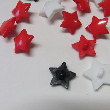 Star Shank Buttons Plastic Set of Twelve 12 Red White Black
