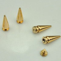 Spike Stud--Offer for sale 50PCS Gold Spike Bullet Studs with Screwback Rivets buttons Accessories--7x19mm