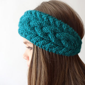 Hand Knit Headband, Womens Winter Headband, Teal Blue Cable Knit Headband with Button Closure