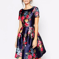 Blue Floral Print A-line Short Sleeve Pleated Dress