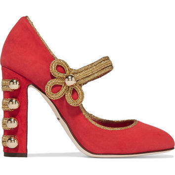 Dolce & Gabbana - Embellished suede Mary Jane pumps