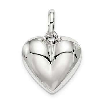 925 Sterling Silver Puffed Heart Charm and Pendant