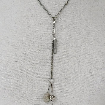 OOAK RePurposed Lariat Charm Silver Tone Chain Slide Necklace YNecklace Rhinestone Tassel Monogrammed Charm
