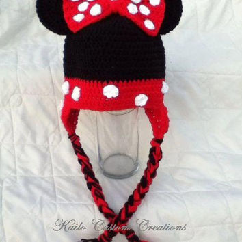 Miss Mouse hat with earflaps and braids, Newborn to Adult