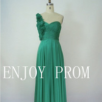 A-line  One shoulder Hand-Made Flower Chiffon floor-Length Bridesmaid/Evening/Prom Dress