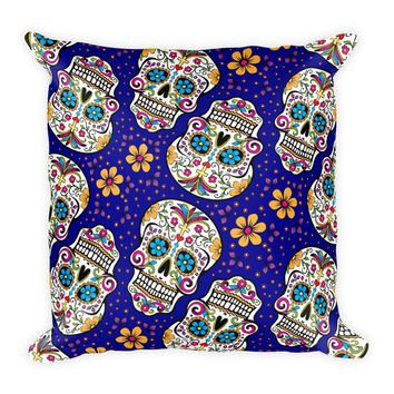 Sugar Skull Day of the Dead DARK BLUE Square Pillow