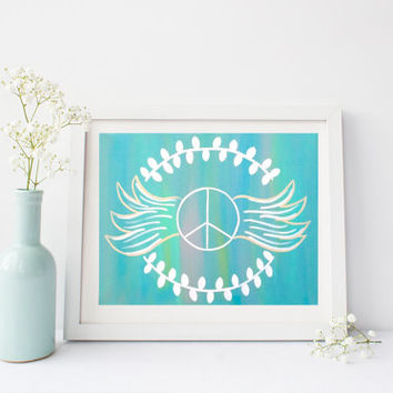 Blue and white peace sign with wings, wall art print poster for baby nursery,  bedroom, dorm room, or home decor