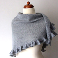 handknit gray ruffle scarf with sparkle
