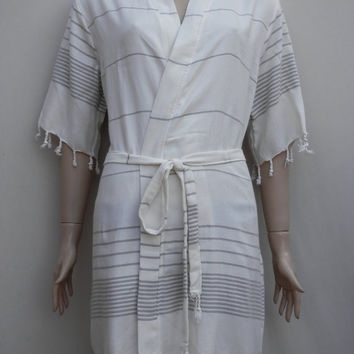 Women's gray colour striped kimono style short bathrobe, bridesmaid robe, dressing gown, massage robe.