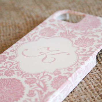 Monogrammed iPhone 5 Case, Pink Damask Floral, iphone5 monogram Black Friday Etsy, Cyber Monday Etsy