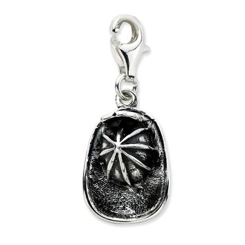 Sterling Silver 3-D Antiqued Firemans Hat w/Lobster Claw Clasp Charm