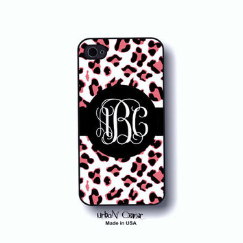 Animal print iphone case - Monogram Personalized phone cover Iphone 4, 4S, 5, 5s, 5c & Galaxy S3,S4 case - leopard pink, black,white (5020)