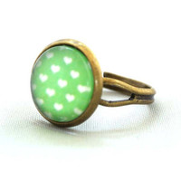 Ring Colourful Apple Green with White Heart Polka Dots Pop Pattren Jewelry Unique Gifts Kawaii