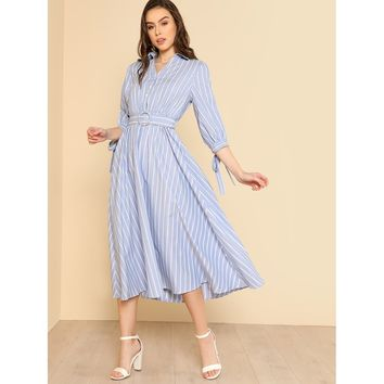 Blue Collar Neck Striped Dress