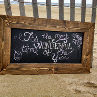 Rustic Wedding Chalkboard 29x17; Framed Chalkboard; Rustic Beach Wedding; Beach Wedding, Long Rustic Chalkboard