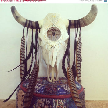 Pre holiday SALE Obsidian //OAK adorned  bull skull obsidian arrowhead dream catcher // bull, skull, crystal, feather, home, decor, southwes