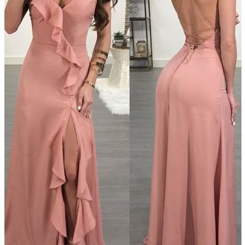Pink Spaghetti Strap Ruffle Side Slit Deep V-neck Flowy Las Vegas Maxi Dress