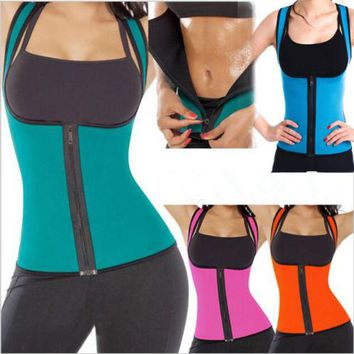 EXTREME Black Blue slimming redu thermo cami hot slim belt Neoprene body shaper Vest Sweat Sauna waist trainer corsets *USPS*