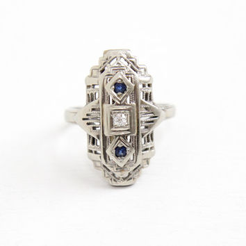 Vintage 14k White Gold Diamond & Sapphire Filigree Shield Ring - Art Deco 1930s Size 3 1/2 Blue Gemstone Fine Statement Jewelry