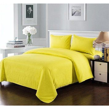 Tache 3-4 Piece Cotton Solid Sunny Yellow Comforter Set With Zipper (3-4PCOM-W/Zip-Yellow-CK)