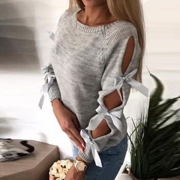 Knitted Hollow Bow Sleeve Sweater