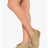 TAUPE Punk Band Gal Back Spike Flat Bootie | $12.50 | Cheap Trendy Boots Chic Discount Fashion for W