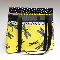 Yellow dragonfly black and white polka dot by SuziesImaginarium