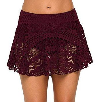 GRAPENT Women Crochet Lace Skirted Bikini Bottom Solid Short Swim Skirt Swimsuit