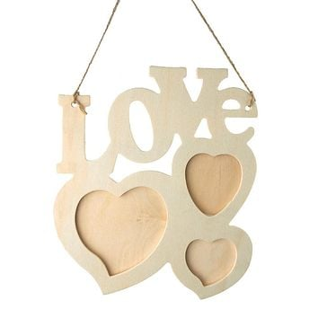 Love Heart Wooden Photo Frame Sign, Ivory, 8-Inch