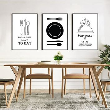 Minimalist Kitchenware Canvas Painting Black and White Nordic Poster Print Wall Art Pictures for Kitchen Dining Room Home Decor