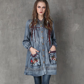 Trench Coat 2016 Yuzi.may Casual New Denim Women Coats Stand Collar Floral Embroidery Lantern Sleeve Casacos A6552 Casaco Femme