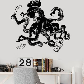 Vinyl Wall Decal Octopus Pirate Tentacles Nautical Kids Room Stickers Unique Gift (ig3252)