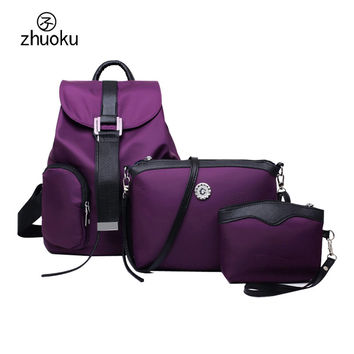 mochila feminina Fashion Waterproof nylon women backpack clutch three-piece composite bags mochilas mujer 2016 Clutch purse H332