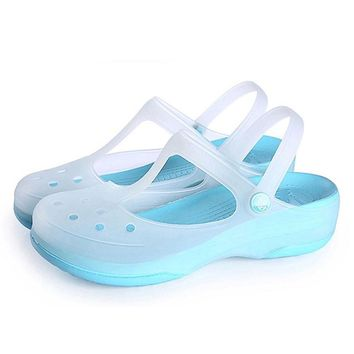 CoolFar Mules & Clogs colorful beach women shoes platform garden shoes with thick bott