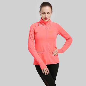 Women's Running Jacket Stretchy Running Sports Jackets Full Zip Activewear Coat with Thumb Holes Workout Yoga Track Jacket