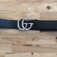 Gucci Belt (Black Leather With silver Double G)
