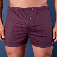 Navy with Red X Print Boxer Short - Xavier