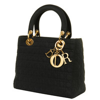 WOW! Dior 'Lady Dior' 25cm Black Quilted Bag with Goldtone Hardware