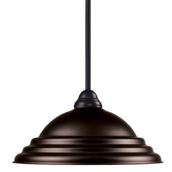 Z-Lite 2114MP-BRZ-SBRZ Riviera One-Light Bronze Dome Pendant with Bronze Metal Shade
