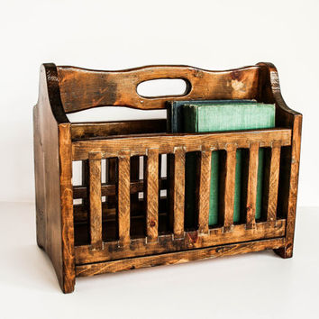 Rustic Wood Magazine / Book Rack Handmade Primitive