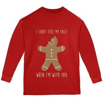 PEAPGQ9 Christmas Gingerbread Man Can't Feel My Face Youth Long Sleeve T Shirt