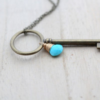 Large Skeleton Key Necklace - Turquoise Edition