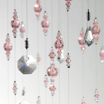 Large Light Pink Wedding Decoration Swarovski Crystal Chandelier Hanging Mobile Suncatcher Baby Girl Nursery Idea Babyshower & Birthday Gift