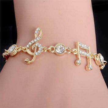 SHUANGR Bestfriend Gold Color Music Notes Czech Crystal Ladies Bangle Bracelets for Women Fashion Jewelry Bracelets