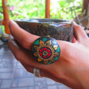 Nepalese Brass ring Malachite Howlite Heart Circle Cocktail Ring Party Jewelry | eBay