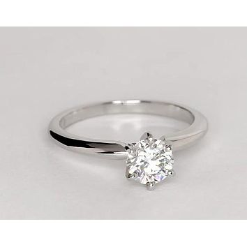 A Classic 1CT Round Cut Solitaire Russian Lab Diamond Engagement Ring